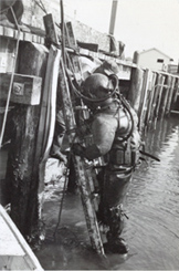 Wilfred F. Magann preparing for an underwater inspection